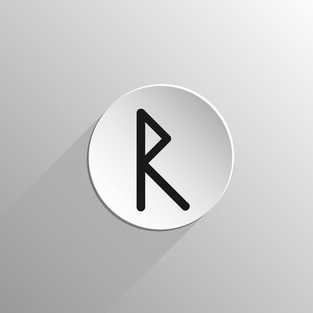 magic, black icon rune Raido on a light background with long shadow