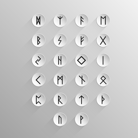 rune: Alphabet with ancient Old Norse rune on a light background with long shadow