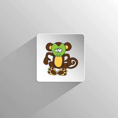 cute colored monkey sits and hurts icon on a light background with long shadow