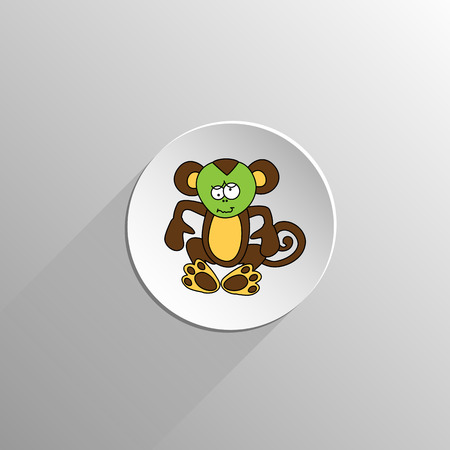 hurts: cute colored monkey sits and hurts icon on a light background with long shadow