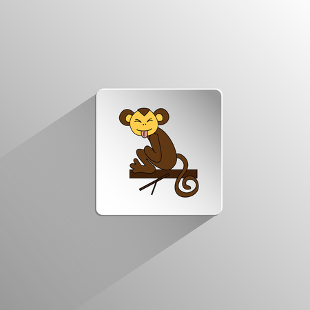 grimace: cute colored monkey sits and grimace icon on a light background with long shadow Illustration