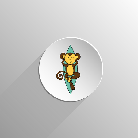 lie down: cute colored monkey resting on the surfing icon on a light background with long shadow