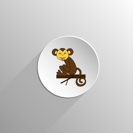 cute colored monkey sits and grimace icon on a light background with long shadow Illustration