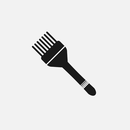hair brush: hair brush for hair dye and hair haircuts flat black icon on white background