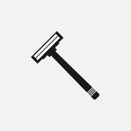 shaving blade: women razor blade hair shaving, black flat icon on a white background