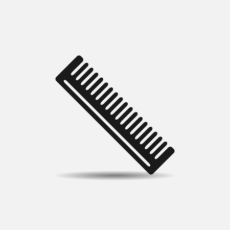 cutting hair: Barber comb for cutting hair and flat black icon on white background
