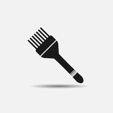 tinte cabello: cepillo de pelo para el tinte para el cabello y el pelo cortes de pelo plana icono negro sobre fondo blanco Vectores
