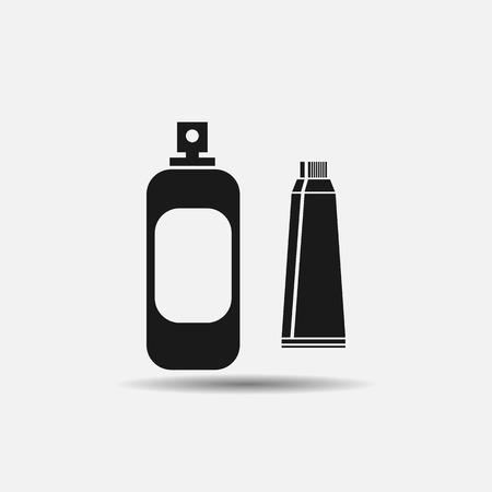 gargle: oral hygiene toothpaste, mouth wash, flat black icon on white background