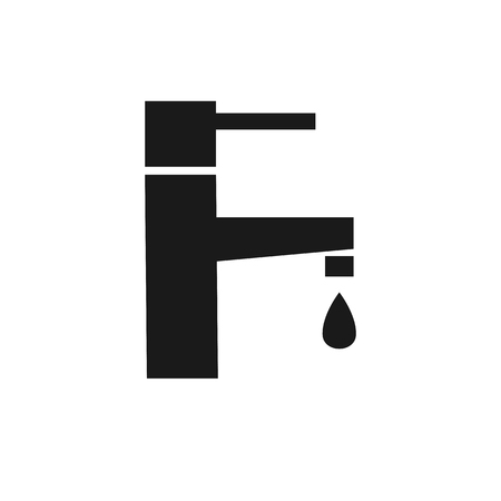 water faucet: water faucet plumbing black flat icon on a white background Illustration