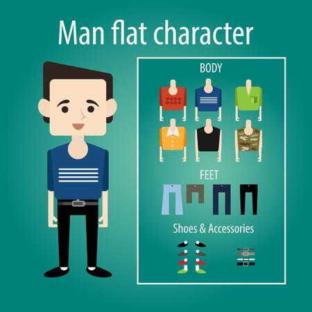 modelos hombres: Joven estudiante est� sonriendo. personaje plano elige la ropa, el cuerpo, los zapatos. Su�ter, camisa y camuflaje.