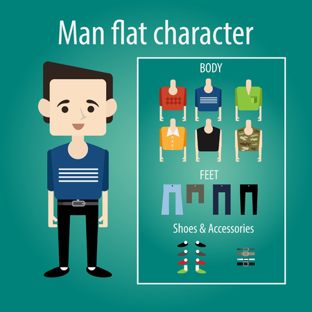 attractive male: Young man student is smiling. flat character chooses clothes, body, shoes. Sweater, shirt and camouflage.