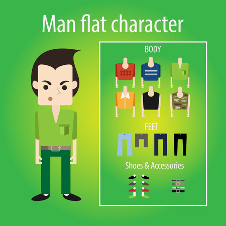 angry boy: Stylish angry young man the student is smiling. flat character chooses clothes, body, shoes. Sweater, shirt and camouflage. Illustration