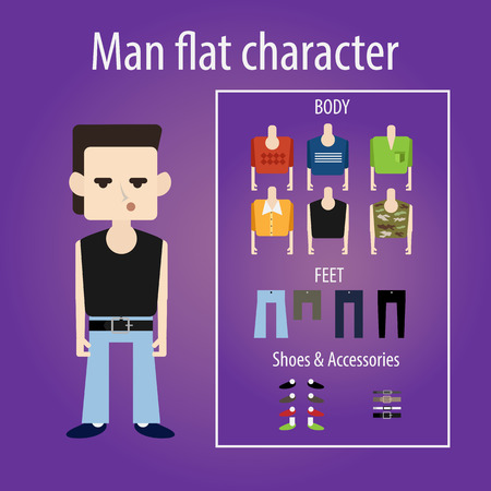 cool people: Stylish angry young man the student is smiling. flat character chooses clothes, body, shoes. Sweater, shirt and camouflage. Illustration