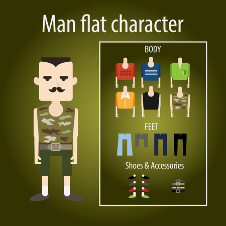 black boy: Adult severe soldier with mustache. flat character chooses clothes, body, shoes. Sweater, shirt and camouflage.