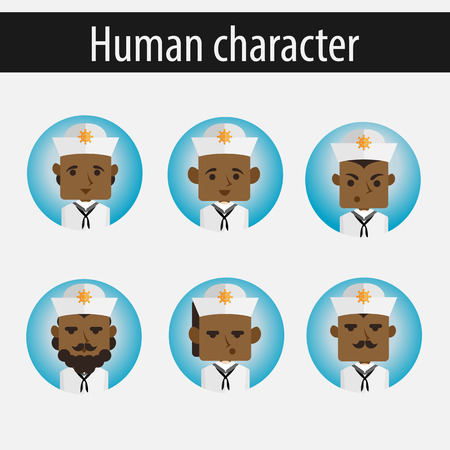 wheel guard: set men African American character is a American sailor flat vector portrait of a man with emotion on an isolated background