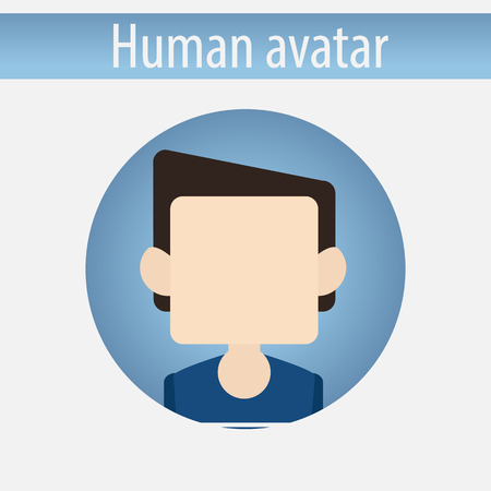 pupil: Avatar male white pupil man vector illustration on isolated background flat design