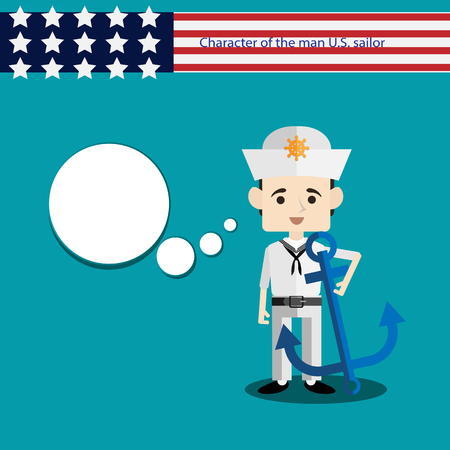 anchor man: set men European character is a  USA sailor with anchor flat vector portrait of a man with emotion on an isolated background