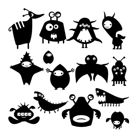 alien clipart: Black icon alien monster on a white background, the animal and fantastic creature Illustration