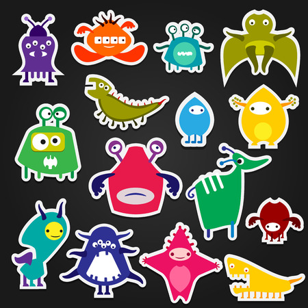 fantastic creature: Color icon alien monster sticker on a white background, the animal and fantastic creature