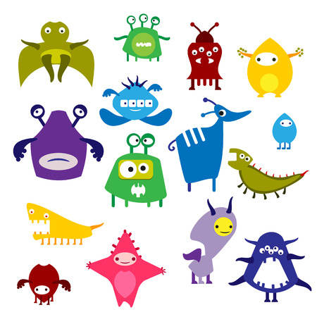 fantastic creature: Color icon alien monster on a white background, the animal and fantastic creature