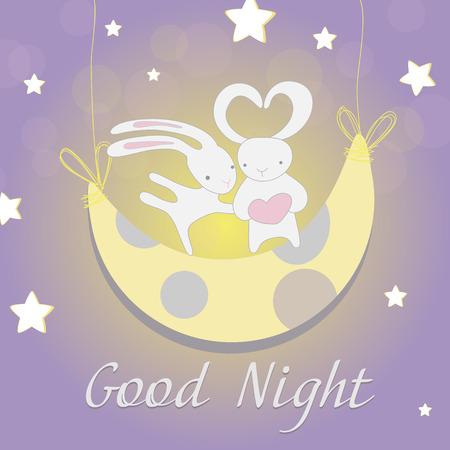 Deux lièvres blancs mignons dans la lune ensemble avec le coeur dans les mains heureux la nuit sur un fond isolé