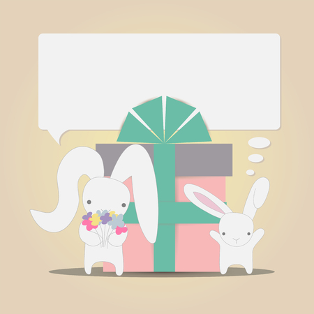give a gift: Little white rabbits mother and baby with a bouquet of flowers to congratulate and give a gift on vintage background