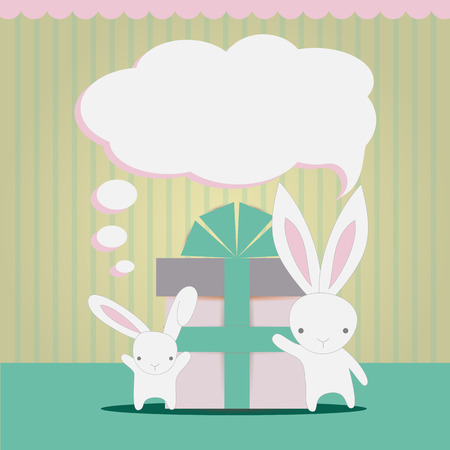 give a gift: Little white rabbits to congratulate and give a gift on vintage background