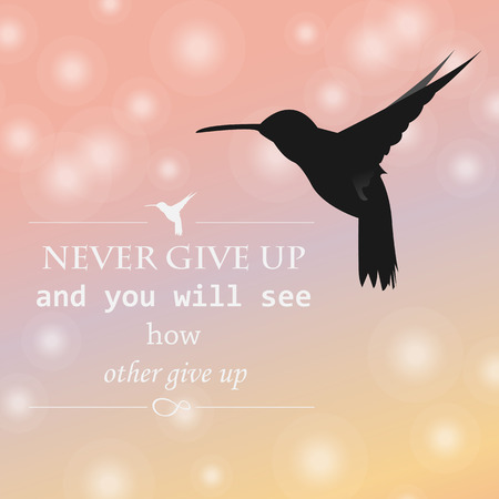philosophical: Philosophical phrase never give up, bird black humming bird and infinity sign on an isolated background