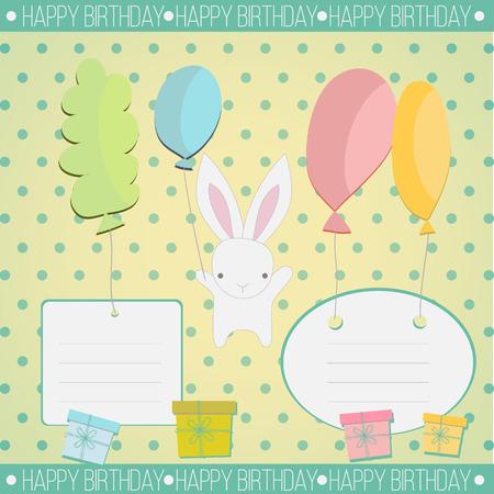 dar un regalo: El pequeño conejo blanco para felicitar y dar un regalo en el fondo de la vendimia Vectores
