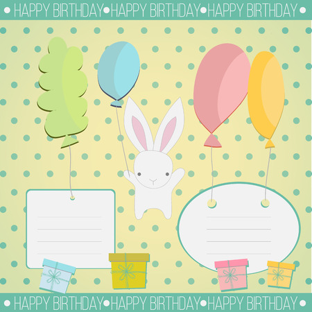 congratulate: Little white bunny to congratulate and give a gift on vintage background