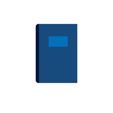 closed book: Blue closed book flat vector icon on white background