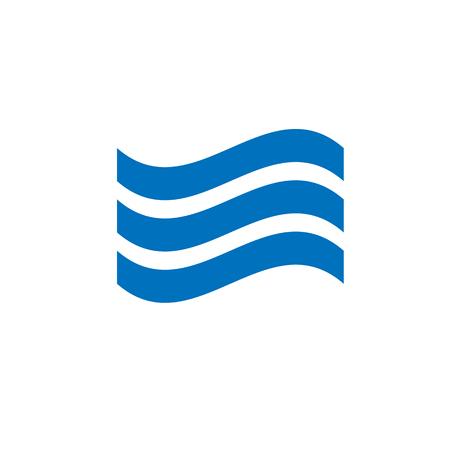 onde sonore ou un symbole de vague de mer vecteur plat icône sur fond blanc