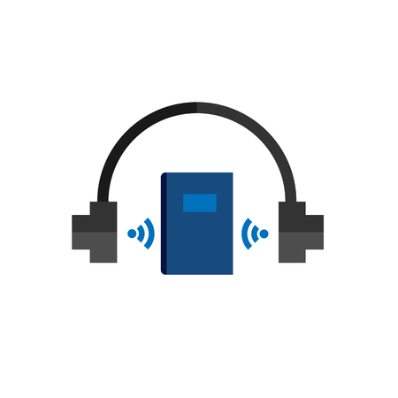 audio book: Technology headphones audio book, flat vector icon on white background