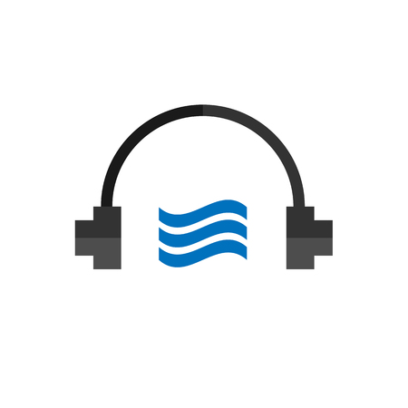 audio book: Technology headphones audio book, notes, flat vector icon on white background Illustration