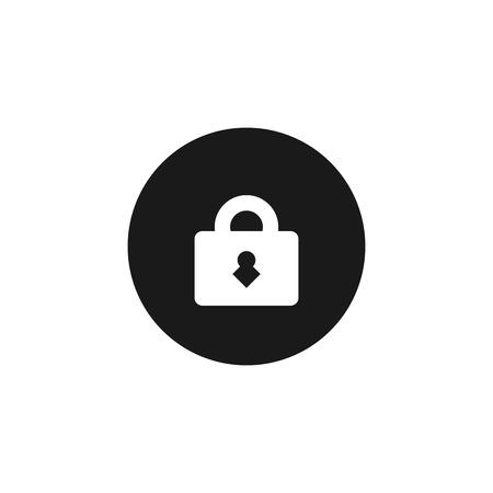 door lock: indoor door lock white icon on black isolated background Illustration