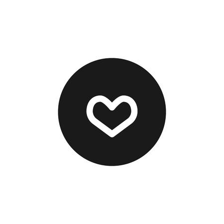 feelings: heart feelings or medicine white icon on black isolated background Illustration