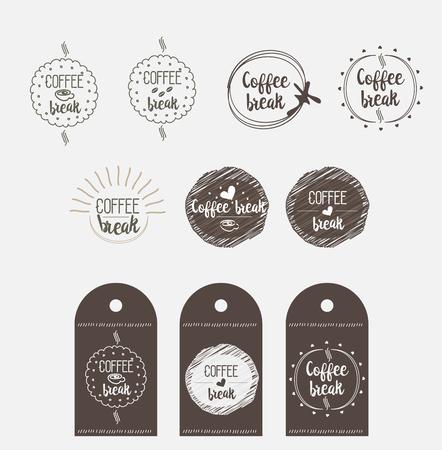 break in: sticker badge coffee shop for break vector paper icon in Doodle design