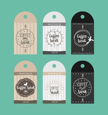 break in: advertising sticker badge coffee shop for break vector paper icon in Doodle design Illustration