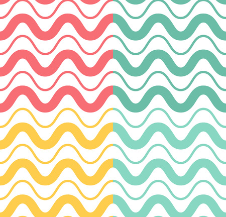 curved line: Fresh cute sea wave colored seamless pattern and a curved line for packaging paper