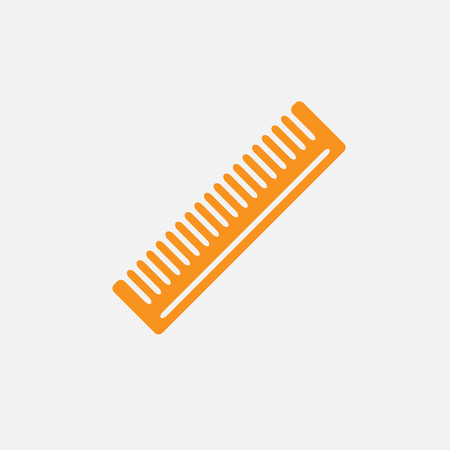 cutting hair: Barber comb for cutting hair and colored flat icon on white background