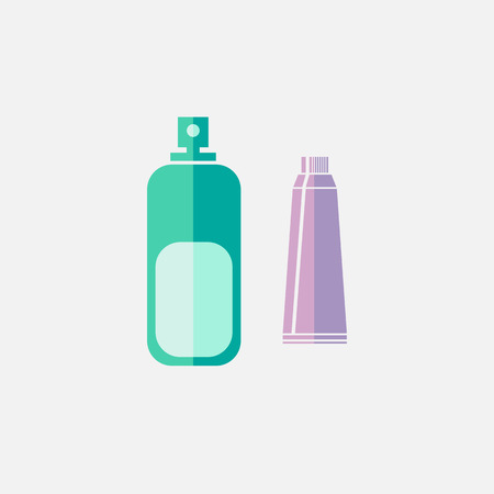 oral hygiene: oral hygiene toothpaste, mouth wash, colored flat icon on white background