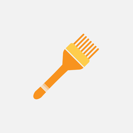 dye: hair brush for hair dye and hair haircuts colored flat icon on white background