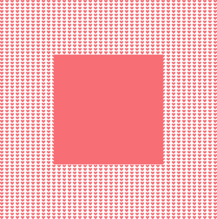 photos of pattern: Seamless pattern and white heart frame for photos or postcards. Border for text on isolated background. Illustration