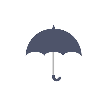 protects: Blue outdoor umbrella protects from rain drops flat web icon, website logo coloured picture on isolated background