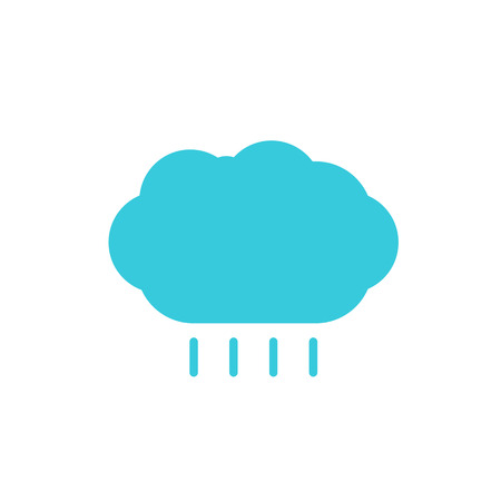 wheather forecast: Weather forecast, blue cloud with rain color flat web icon, website logo, illustrated a color image on an isolated background
