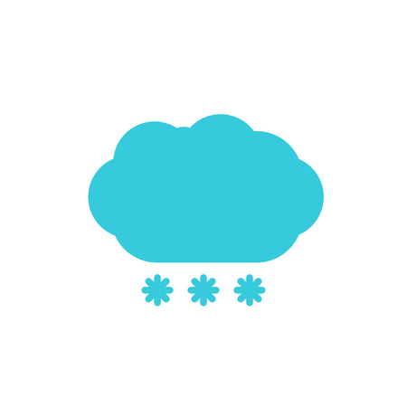 wheather forecast: Weather forecast, blue cloud with snow color flat web icon, website logo, illustrated a color image on an isolated background