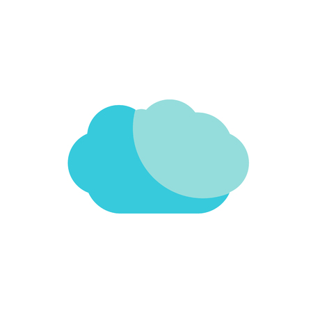 wheather forecast: Weather forecast, blue cloud color flat web icon, website logo, illustrated a color image on an isolated background