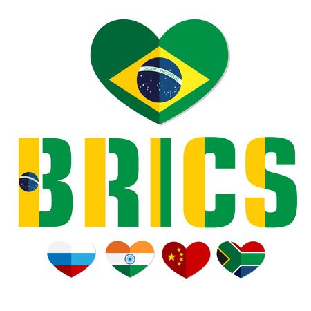 bric: Flags of the BRICS countries in the heart of Brazil, Russia, India, China, South Africa, color flat web, website, illustrated a color image on an isolated background Illustration