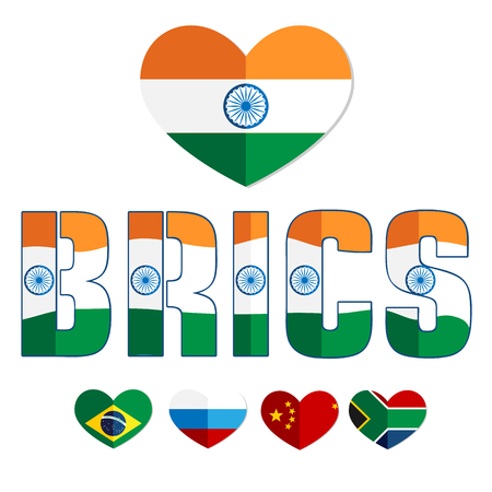 brics: Flags of the BRICS countries in the heart of Brazil, Russia, India, China, South Africa, color flat web icon, website, illustrated a color image on an isolated background