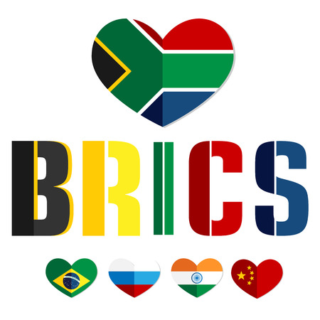 bric: Flags of the BRICS countries in the heart of Brazil, Russia, India, China, South Africa, color flat web icon, website, illustrated a color image on an isolated background